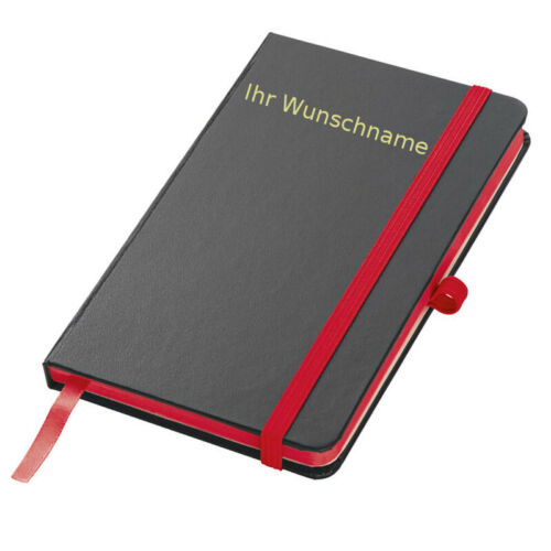 160 S Notizbuch mit Gravur // liniert rot PU Hardcover DIN A6 Farbe