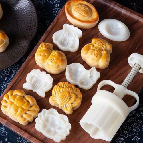 50g Moon Cake Mold Turtle Stamp Barrel Mooncake Hand Pressure Pastry DIY Mould