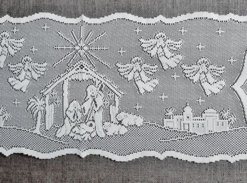 """White or Ivory Nativity Scene 54/"""" Lace Table Runners or Place Mats Livingroom"""
