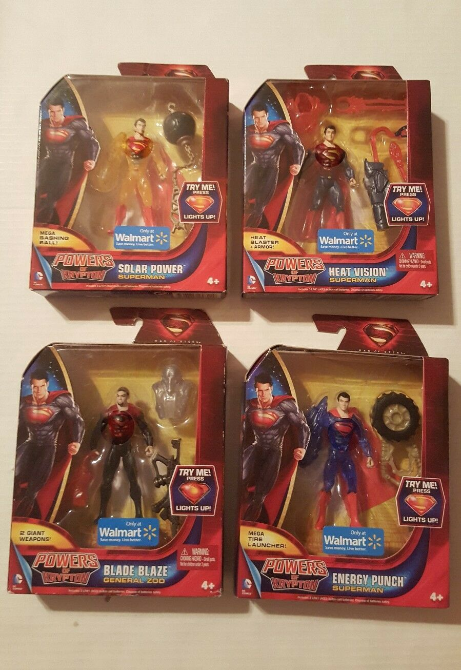 Superman Man Of Steel Powers Of Krypton 4 Figure Complete Set General Zod