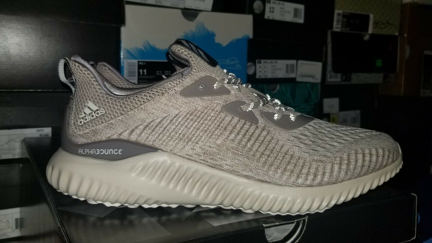 Adidas Men's Sz 10 Alphabounce EM M Engineered Mesh Tan Running Sneakers BB9041