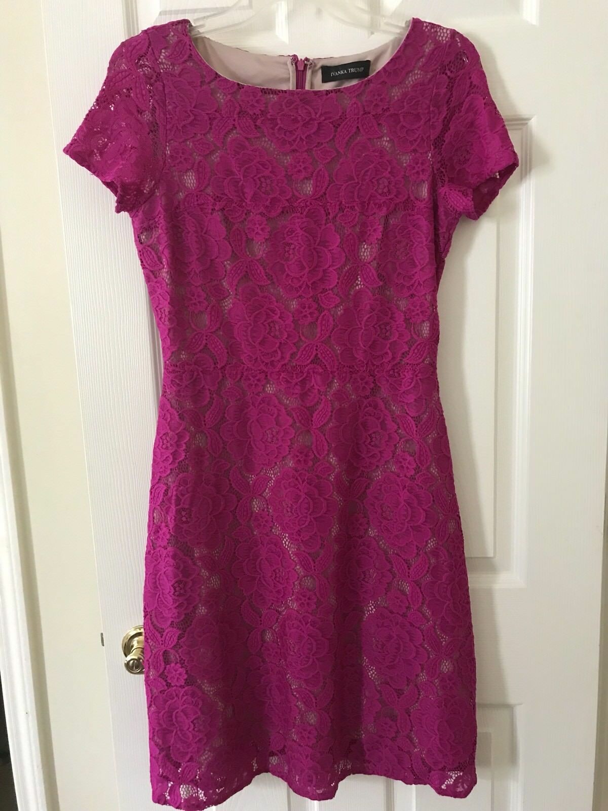 Ivanka Trump damen's Größe 4 Fuchsia Rosa Floral Overlay Lined Lace Dress Stretch
