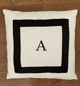 Pottery Barn Teen White Black Initial A Square Pillow Cover Insert Ebay