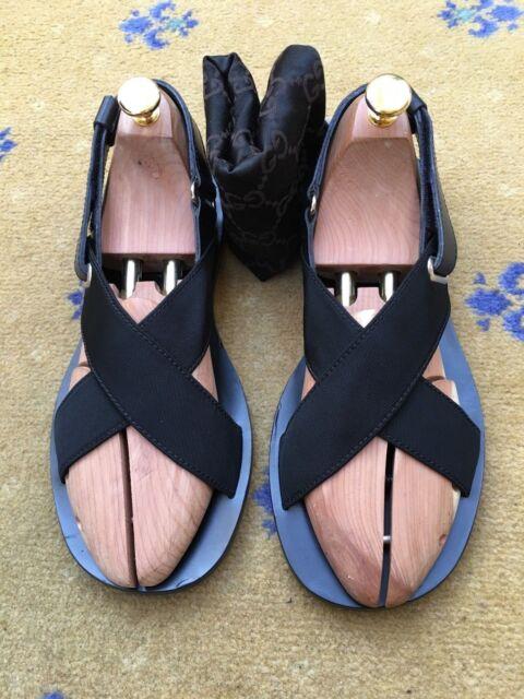 8d5df3198 Gucci Mens Sandals Thongs Flip Flop Black Canvas Leather Shoes UK 7 US 8 EU  41 for sale online