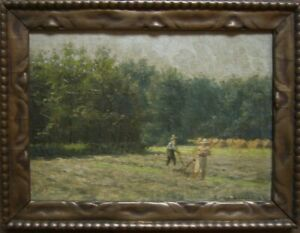 Leopold-Wenzel-1885-Elberfeld-1972-Painting-hay-in-Erkrath-dedication-Antique