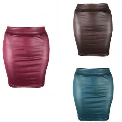 Womens Black PVC Wetlook Leather Look Ladies Elasticated Waist Tube Mini Skirt