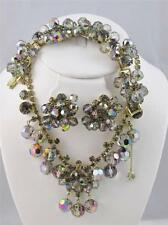 Vintage D&E JULIANA Grey Dangle Bead Rhinestone Necklace Bracelet & Earring Set