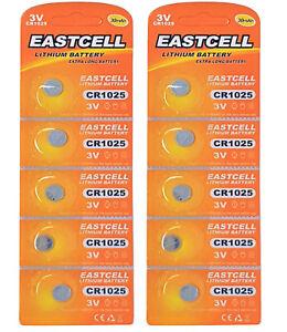 10-x-CR1025-3V-Lithium-Knopfzelle-30-mAh-2-Blistercard-a-5-Batterien-EASTCELL