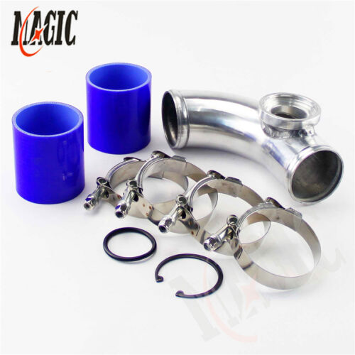 """silicone+clamps BL 90 degree 2/"""" 50mm SSQV Blow Off Valve Adapte Aluminum Pipe"""