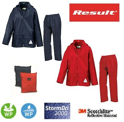 RESULT KIDS Child Boys Girls RED Waterproof Jacket and Trousers Rain Suit Bag