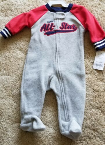 Carter/'s Baby Boys 3 Month One Piece Daddy/'s All-Star Fleece Zip Footed Sleeper