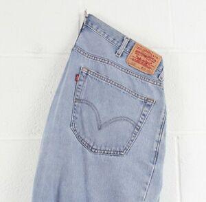 Vintage-Levi-039-s-550-Relaxed-coupe-droite-homme-BLEU-Grunge-Travailleur-Jeans-W38-L30