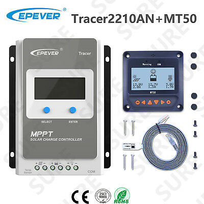 Tracer2215BN EPEVER MPPT Solar Charge Controller 20A 150V PV Negative Ground W// MT50 Remote Meter Temperature Sensor PC Communication Cable