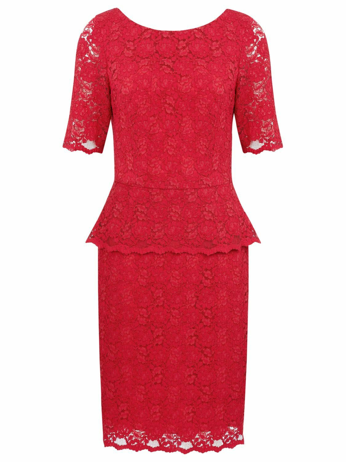 Kaliko, pink red lace  peplum dress size 14, BNWNT.
