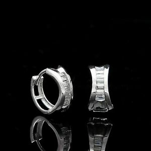 0-75Ct-Baguette-Created-Diamond-Huggie-Hoop-Earrings-Solid-14K-White-Gold-VVS1