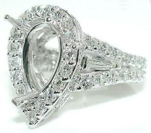 3-5CT-Diamond-MOUNTING-Ring-SETTING-Crown-for-Pear-18KW