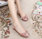 Stylish Women's Casual Shoes Jelly Hollow Out Flat Heel Sandals Flip Flops Size