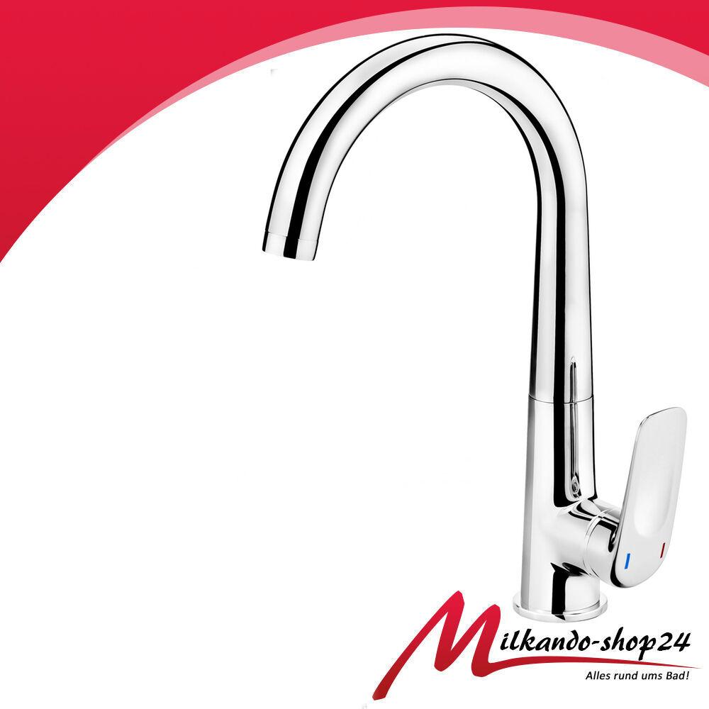Küchenarmatur Mischbatterie Spültischarmatur Chrom Wasserhahn  Auslauf BEH062