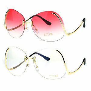 c18386aeb2f Image is loading Womens-Swan-Drop-Temple-Rimless-Granny-Funky-Oversize-