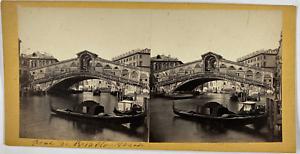 Stéréo, Italie, Venise, pont du Rialto Vintage stereo card,  Tirage albuminé