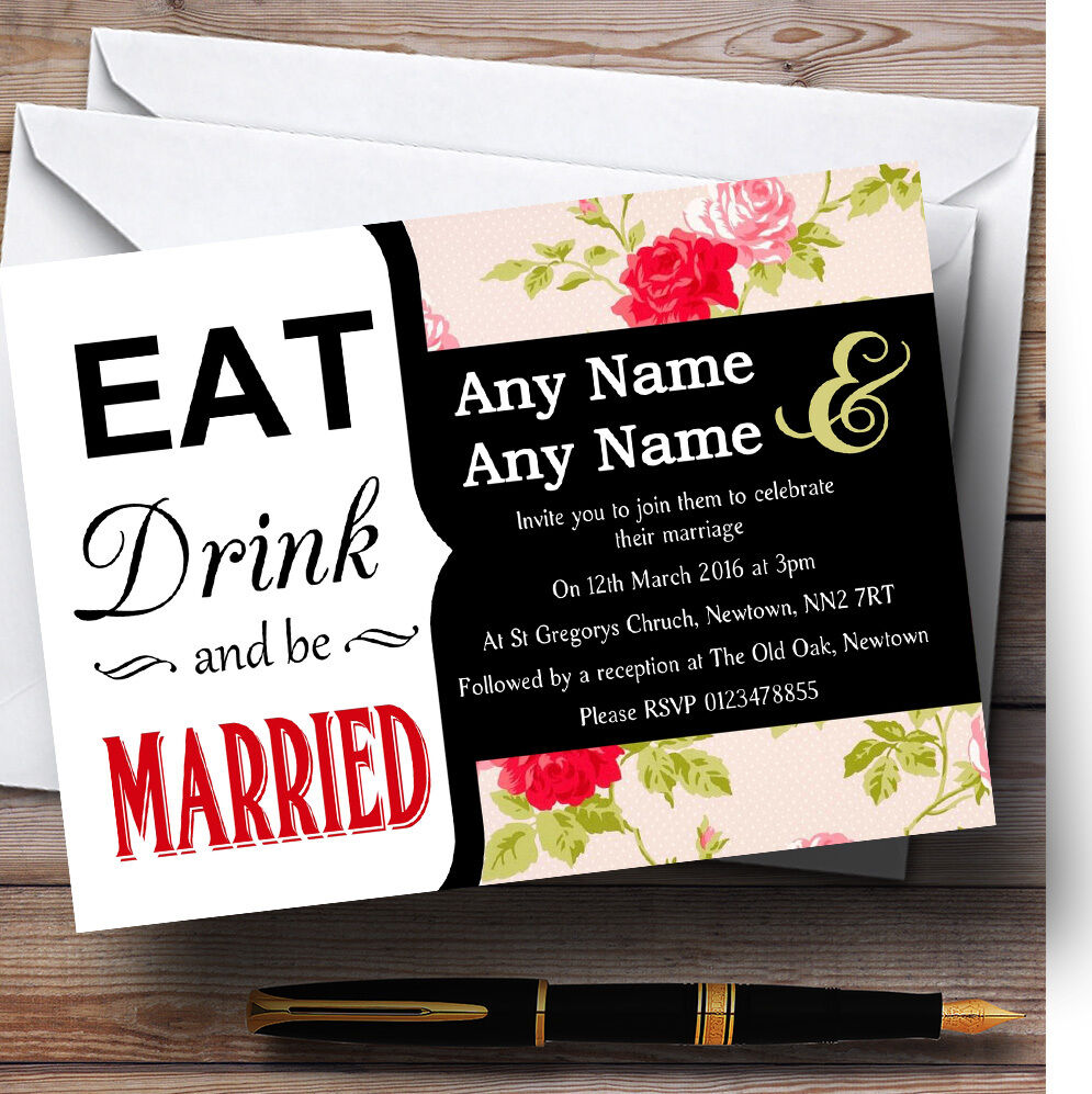 Eat Drink Rose mariage Chintz aquarelle fleurs mariage Rose invitations personnalisées 5ccb1e