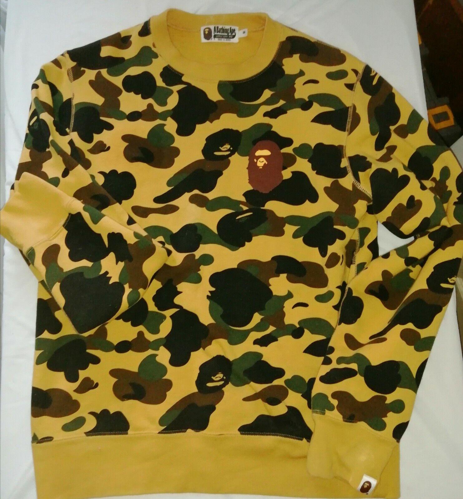 A BATHING APE 1st CAMO yellow SWEATSHIRT sweater BAPE CAMO Medium