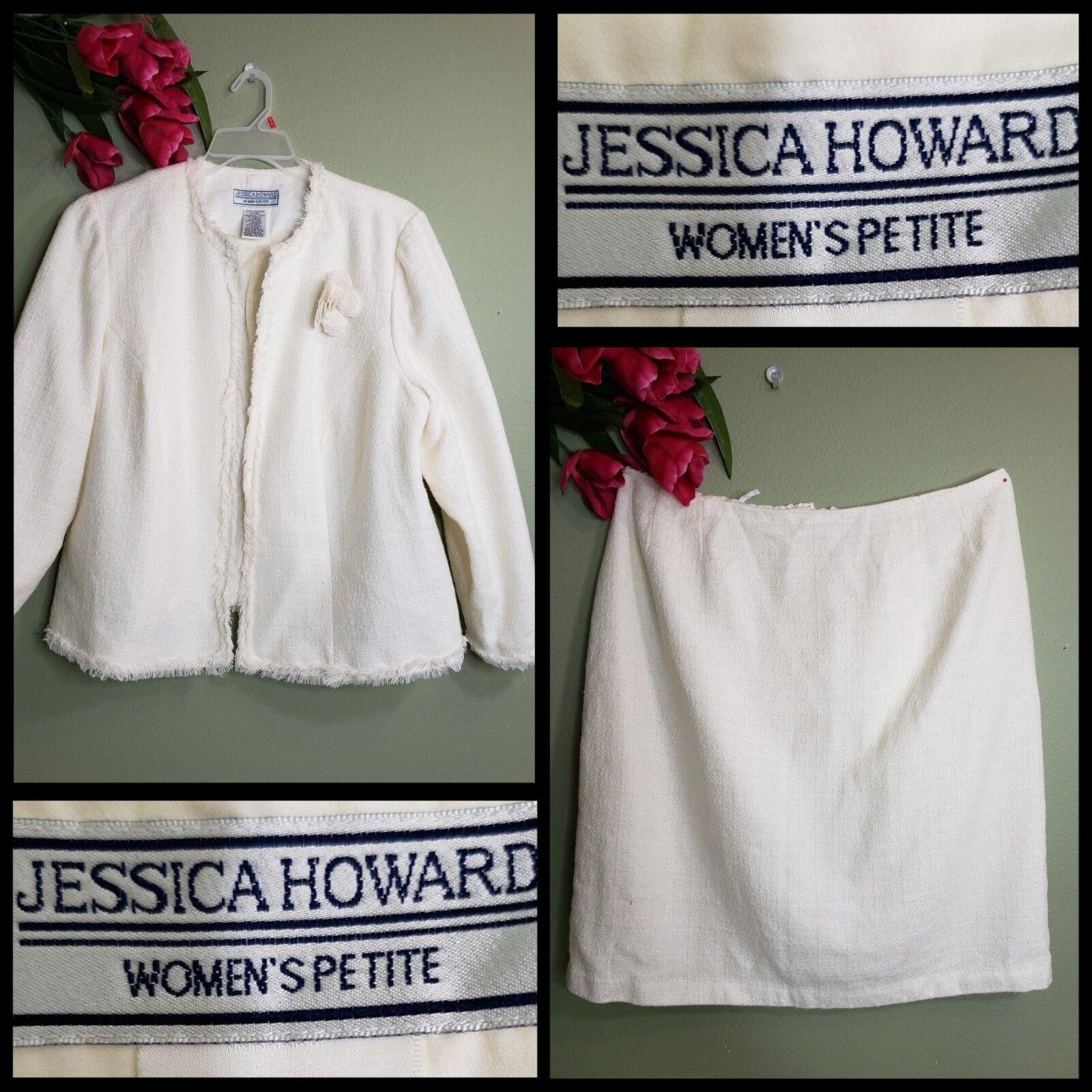 Jessica Howard Woman Career Formal Fringe Open Front Blazer Suit & Skirt