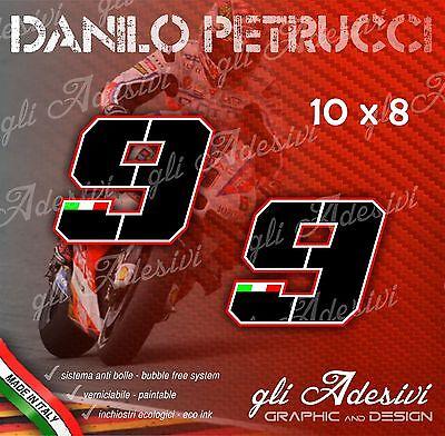 2 Adesivi Stickers Danilo Petrucci 9 Numero Cupolino Replica Ducati 10 X 8 Cm
