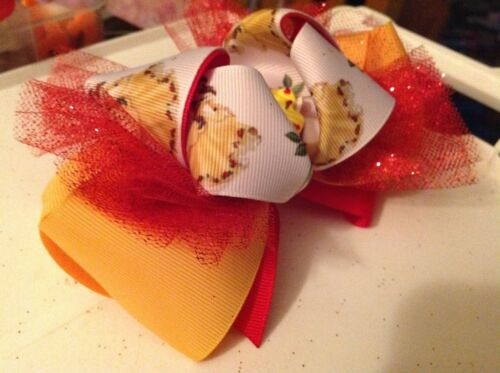 """yellow /& white X-large bow 6/"""" Details about  /Disney/'s Princess Belle red"""
