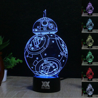 BB-8 3D LED illusion Night Light  Touch Switch Desk Art Lamp 7 color Xmas Gift