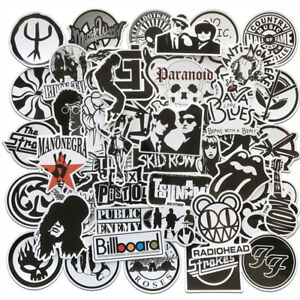 50Pcs-Noir-Blanc-Musique-Rock-Bandes-Autocollants-Pour-Skateboard-Bagages-Portable-Guitare