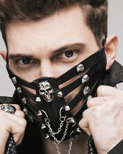 Punk Rave Mens Gothic Mask Mouthguard Black Faux Leather Spiked Dieselpunk Punk