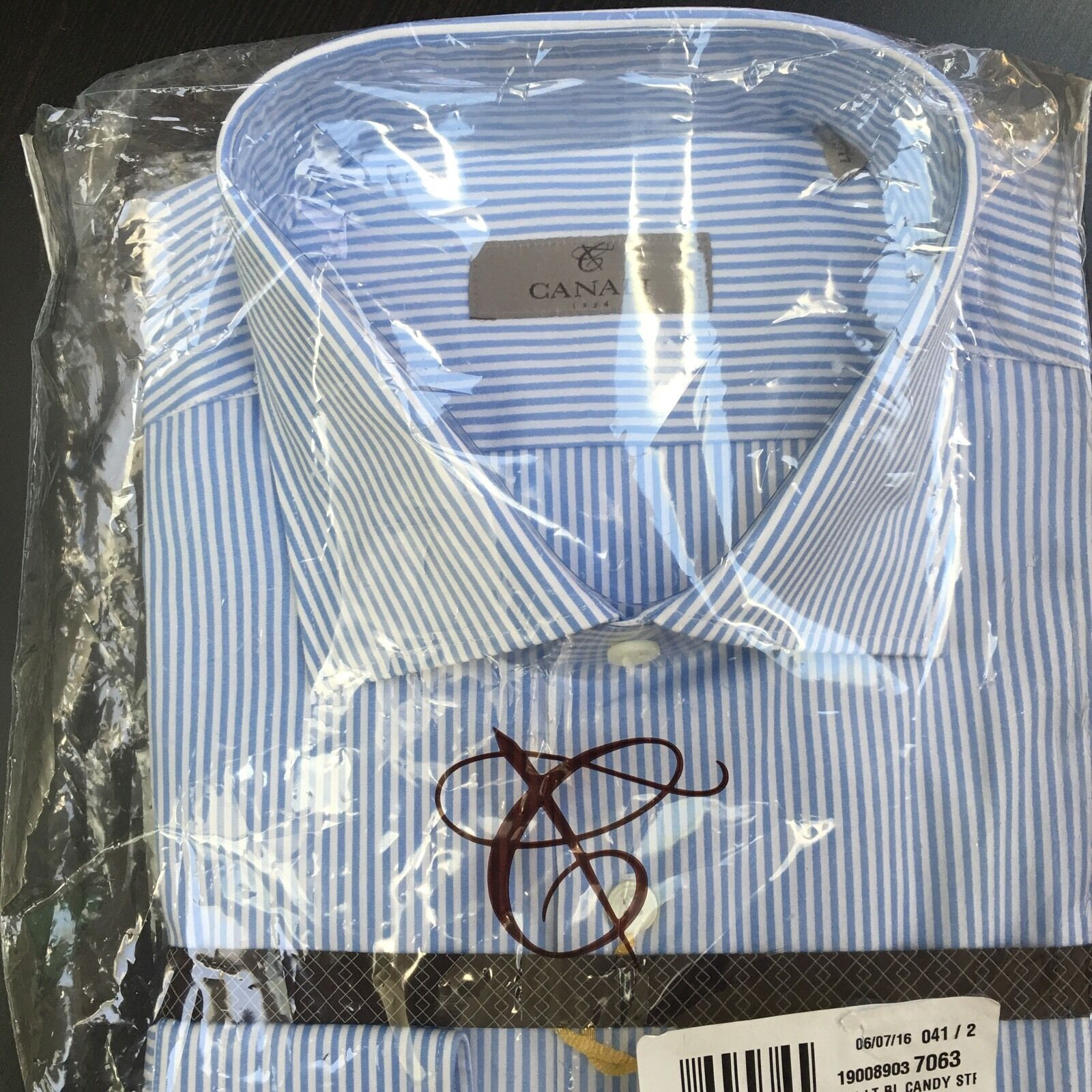 NWT CANALI  bluee & White Candy Striped Regular Fit Cotton Shirt SZ 17R