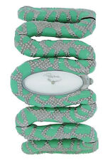Roberto Cavalli R7253195535 Cleopatra Women's Analog Mint Silver Snake Watch