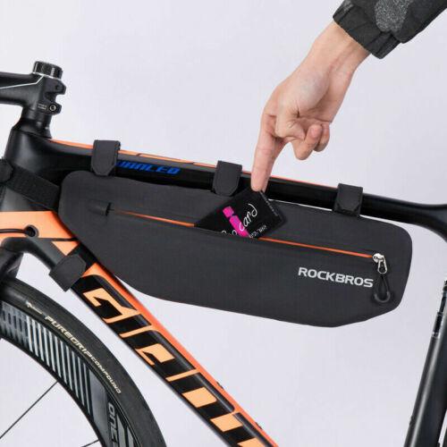 ROCKBROS Waterproof Large Capacity Bicycle Triangle Bag Tube Frame Bag Black 3L