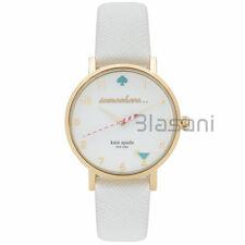Kate Spade Original 1YRU0765 Women's 5 o'clock Metro White Leather Watch 34mm