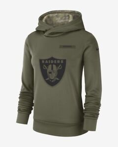 online retailer 84d85 b7583 Details about Nike Salute to Service NFL Raiders Women's XS Hoodie Pullover  Camo Green