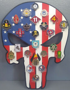 Details about * Custom * Punisher USA 24-Challenge Coin display / holder -  wall mount
