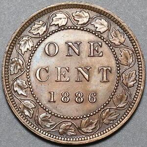 1886-Canada-Victoria-1-Cent-AU-Britain-Empire-Coin-20100402R