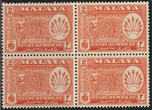 MALAYSIA-MALAYA-NEGERI-SEMBILAN-1957-2c-ORANGE-B-4-MNH