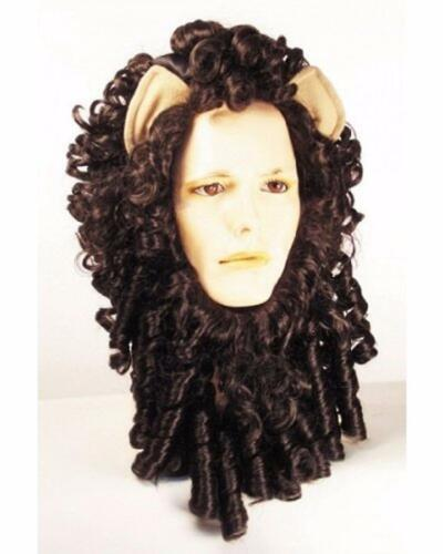ADULT CURLY LION SET BROWN WIG MANE WITH EARS COSTUME ACCESSORY LW152BN