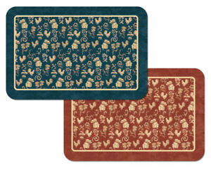 4-Vinyl-Plastic-Placemats-French-Country-Luxe-Rooster