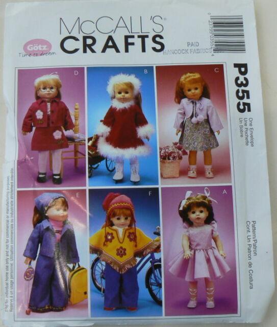 "McCall/'s 18/"" Doll Clothing Pattern fits American Girl /& Gotz Fur Coat Ballerina"