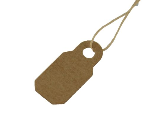 Quality Kraft 10mm x 22mm Jewellers Strung//Price Tie on Tags Gift Label