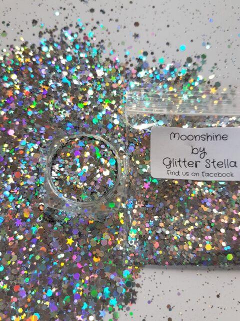 Nail Art Mixed Glitter ( Moonshine ) 10g Bag Chunky Mermaid Holographic Silver
