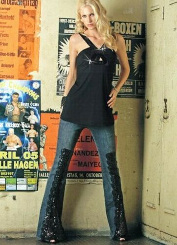 NEUF WOW Jean Stretch coup avec brodé dentelle 34 36 Melrose used 713269