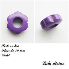Anneau en bois Fleur 30 mm avec trous, pour hochet bébé : Violet