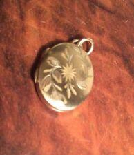 Vintage Rolled Gold Engraved Locket Keepsake Photo Charm OvalPendant