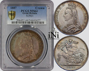 iNi-Great-Britain-Victoria-CROWN-1887-toned-PCGS-MS-64