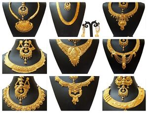 Indian-22K-Gold-Plated-Wedding-Necklace-Earrings-Jewelry-Variations-tikka-Set-aa